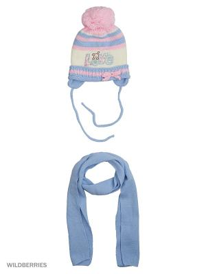 Шапка, шарф Pro-han. Цвет: голубой, молочный, розовый