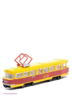 Трамвай Технопарк. Цвет: красный, желтый