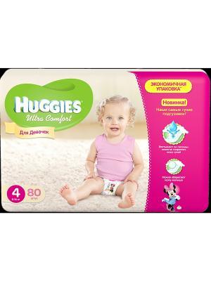 Подгузники Ultra Comfort Размер 4 8-14кг 80шт для девочек HUGGIES. Цвет: розовый