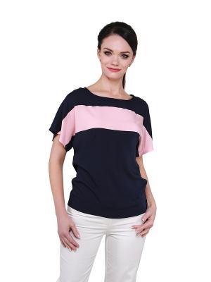 Блузка BLAUZ. Цвет: темно-синий, розовый