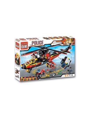 Конструктор Вертолет с  фигурками и аксесс, ENLIGHTEN. Цвет: красный, желтый, черный, синий, серый