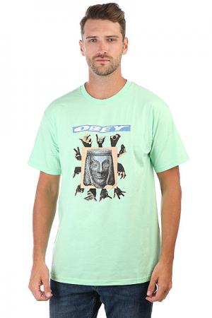 Футболка  Artifacts Mint Obey. Цвет: зеленый