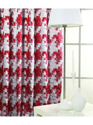 Жаккардовая портьера Кэтрин, 180*275 см Ambesonne. Цвет: серый, красный, розовый