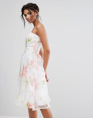 Elise Ryan Платье-бандо миди из органзы с цветочным принтом. Цвет: мульти