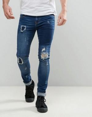 Always Rare Темные суперузкие джинсы с рваной отделкой и заплатками De. Цвет: синий