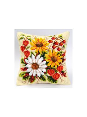 Набор для вышивания лицевой стороны наволочки Осенний букет 40*40см Vervaco. Цвет: красный, желтый, белый, зеленый