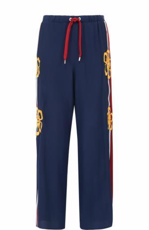 Шелковые широкие брюки с лампасами REDVALENTINO. Цвет: синий