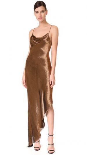 Асимметричное коктейльное платье Juan Carlos Obando. Цвет: медный