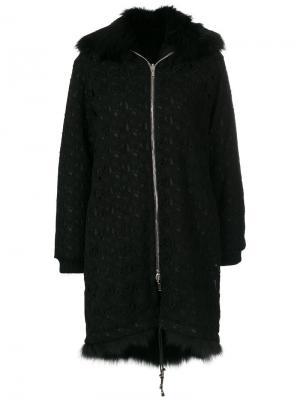 Пальто на молнии с меховым воротником Giambattista Valli. Цвет: чёрный