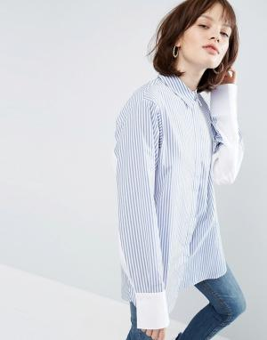 ASOS Oversize-рубашка в полоску с контрастными рукавами. Цвет: мульти