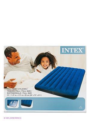 Надувной матрас-кровать классик Intex. Цвет: синий