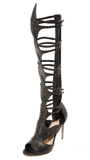 Гладиаторские сандалии Leila Gladiator на каблуках Paul Andrew. Цвет: голубой