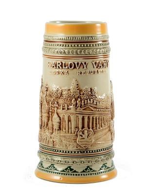 Пивная кружка коллекционная Карловы Вары BURGER. Цвет: коричневый, оранжевый, темно-бежевый