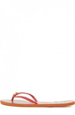 Резиновые шлепанцы с принтом Havaianas. Цвет: оранжевый