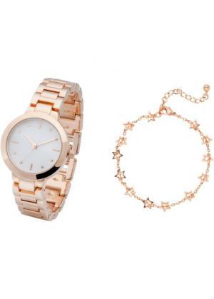 Часы + браслет (2 изд.) (розово-золотистый/белый) bonprix. Цвет: розово-золотистый/белый