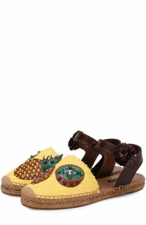 Плетеные эспадрильи с аппликациями Dolce & Gabbana. Цвет: желтый