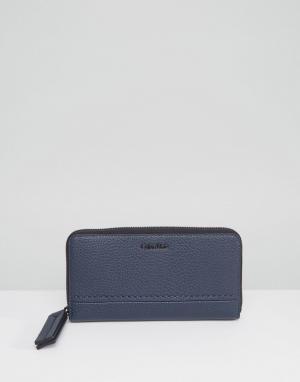 Calvin Klein Кошелек с молнией по периметру. Цвет: синий