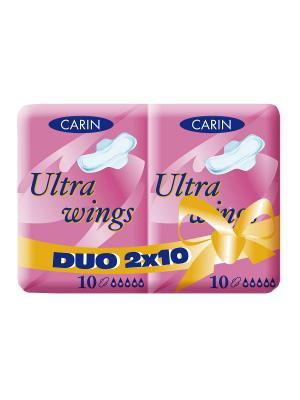 Женские гигиенические прокладки Ultra Wings Duo, 2 упаковки по 10 шт\уп., Carin. Цвет: белый