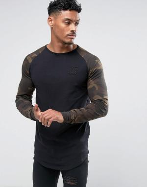 SikSilk Черный обтягивающий лонгслив с камуфляжными рукавами. Цвет: черный