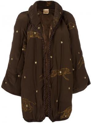 Стеганое пальто с аппликацией леопарда Krizia Vintage. Цвет: коричневый