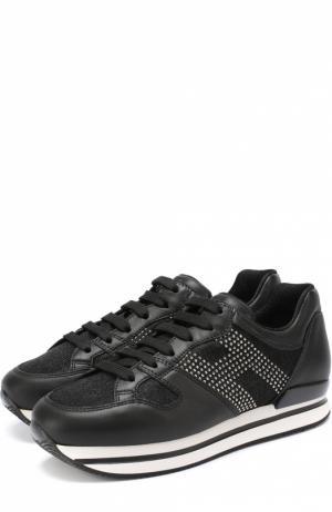 Кожаные кроссовки с вставками из текстиля Hogan. Цвет: черный