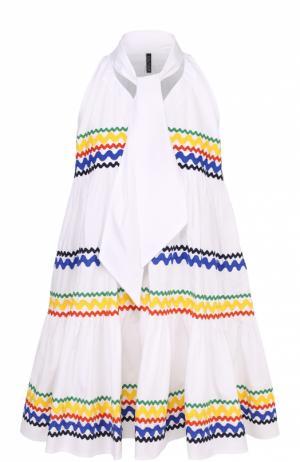 Мини-платье свободного кроя с воротником аскот Lisa Marie Fernandez. Цвет: белый