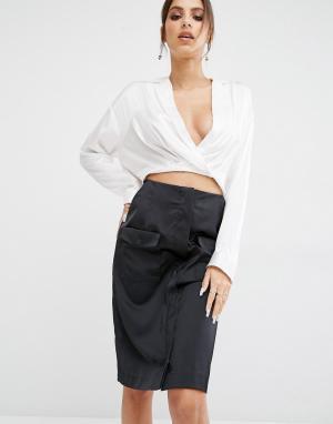 Kendall + Kylie Рубашка с асимметричным краем Surplice. Цвет: белый