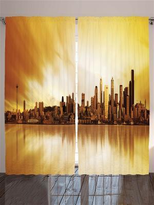 Комплект фотоштор для гостиной Оранжевое небо над Нью-Йорком, 290*265 см Magic Lady. Цвет: оранжевый, белый, коричневый