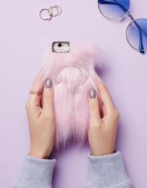 Skinnydip Чехол для iPhone 6/6S/7/8 с отделкой искусственным мехом. Цвет: мульти