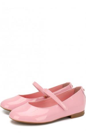 Лаковые балетки с застежками велькро Dolce & Gabbana. Цвет: светло-розовый