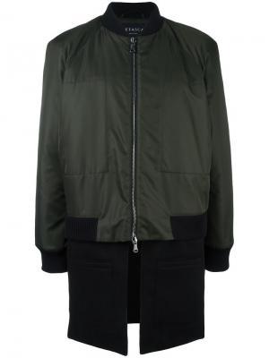 Куртка-бомбер с эффектом тромплей Letasca. Цвет: зелёный