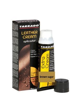 Крем тюбик с губкой Leather cream, БОЛЬШОЙ, 75мл. (brown sugar) Tarrago. Цвет: коричневый