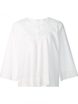 Блузка с панелью макраме Masscob. Цвет: белый