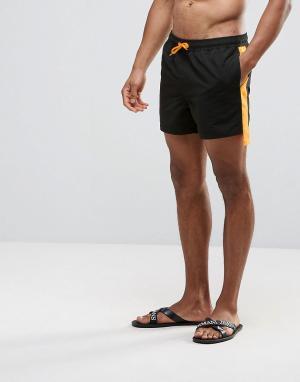ASOS Короткие черные шорты для плавания с кантом по бокам. Цвет: черный