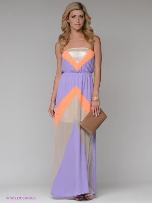 Платье Eunishop. Цвет: сиреневый, бежевый, оранжевый