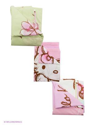 Комплект постельного белья Hello Kitty. Цвет: розовый, белый, коричневый, салатовый