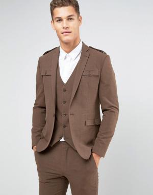 ASOS Коричневый пиджак зауженного кроя в стиле милитари. Цвет: коричневый