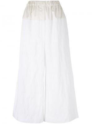 Укороченные широкие брюки Sportmax. Цвет: белый
