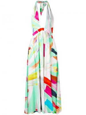 Платье с вырезом-халтер Mara Hoffman. Цвет: многоцветный