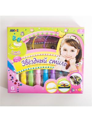 Набор красок Джелли Украшение для волос,6 цв. по 22 мл ,3 ободка,2 винил.лист., инструкция AMOS. Цвет: розовый