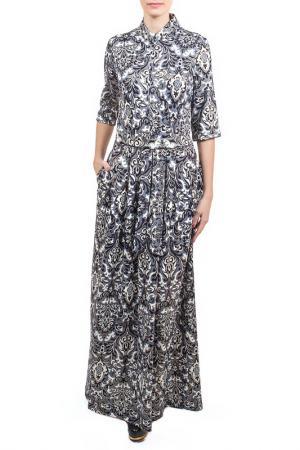 Длинное платье с принтом Узоры Piena. Цвет: сине-бежевый