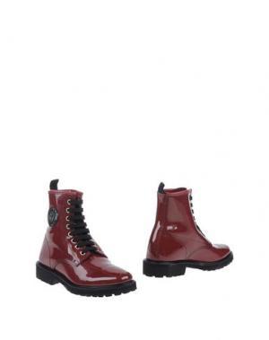 Полусапоги и высокие ботинки MÈNGHI. Цвет: красно-коричневый