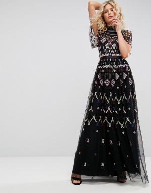 Needle & Thread Платье макси с вышивкой. Цвет: черный