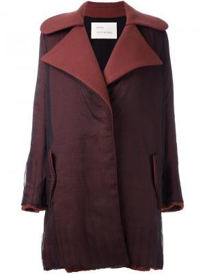 Двухцветное пальто миди Quetsche. Цвет: чёрный