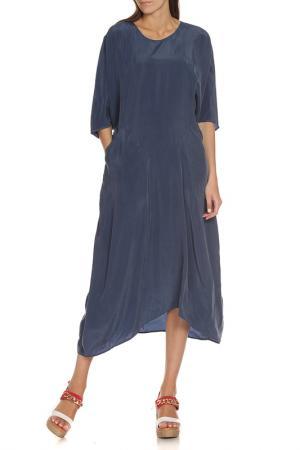Асимметричное платье с округлым вырезом EUROPEAN CULTURE. Цвет: синий