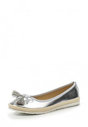 Балетки WS Shoes. Цвет: серебряный