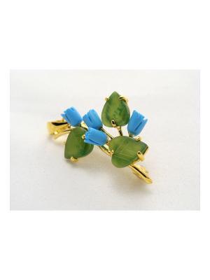 Брошь-кулон Бирюза-нефрит Lotus Jewelry. Цвет: золотистый, зеленый, бирюзовый
