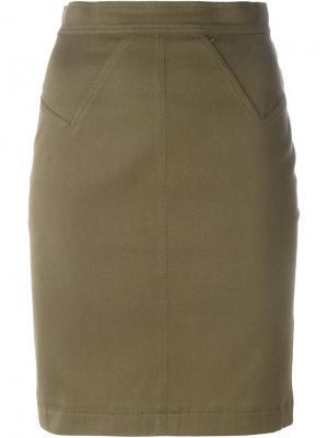 Мини юбка-карандаш Alaïa Vintage. Цвет: зелёный