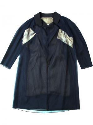 Пальто колор-блок Quetsche. Цвет: синий