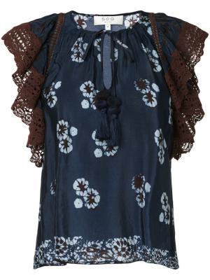 Блузка с цветочным принтом Sea. Цвет: синий